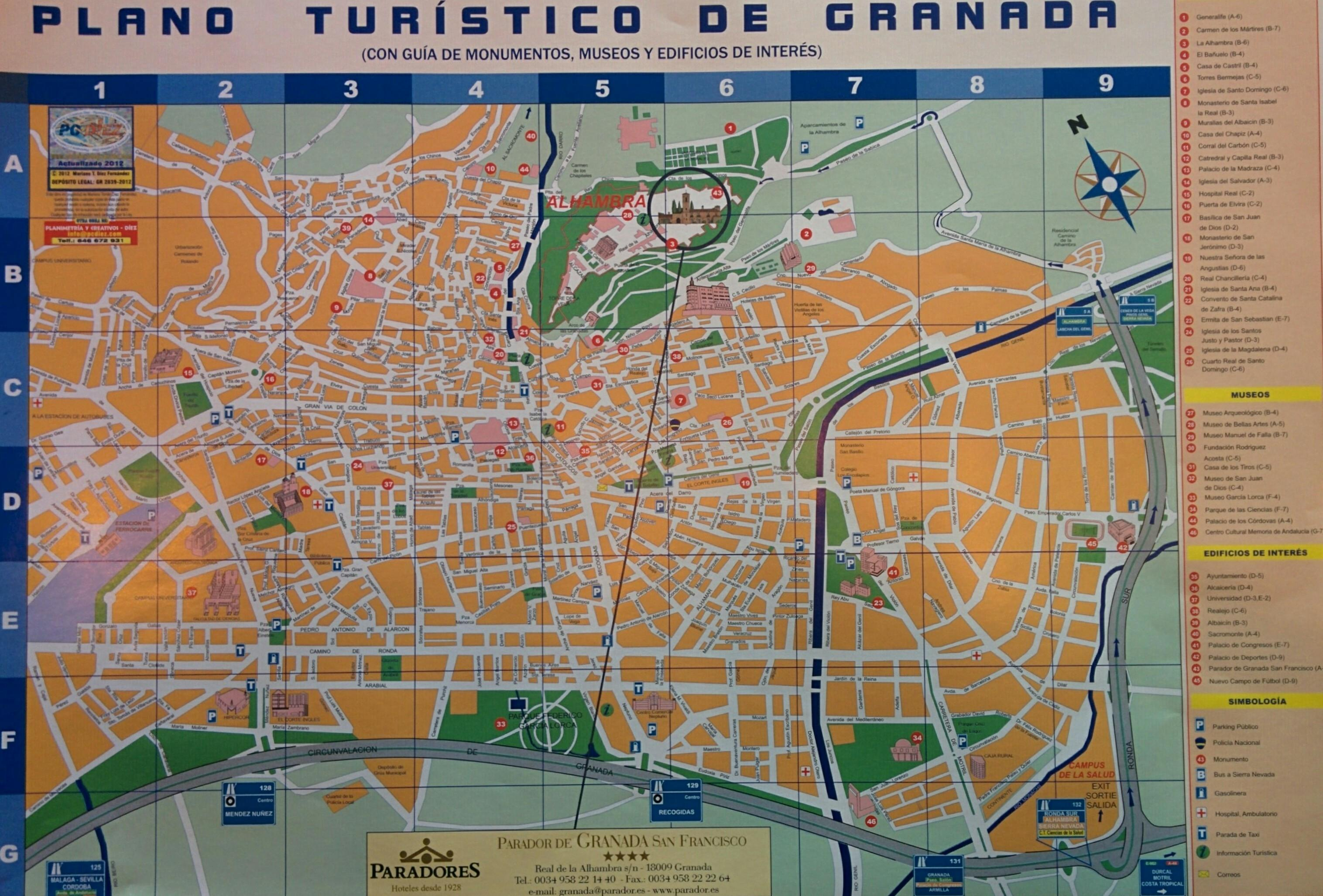 Granada map with circumferential highway